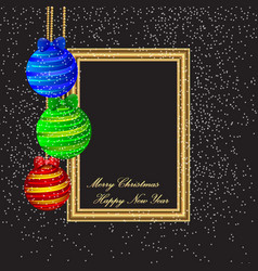 merry christmas and happy new year poster template vector image vector image
