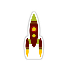 Paper sticker on white background rocket vector