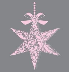 Pink christmas star vector image vector image