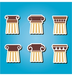 set of color icons with ancient columns vector image vector image