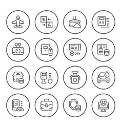 set round line icons of services vector image vector image