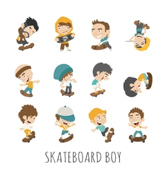 Skateboard Boy eps10 format vector image vector image