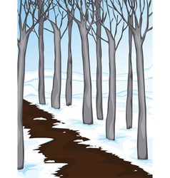 snow covered woodland vector image vector image