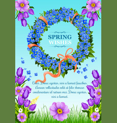 Spring greeting card wishes and flowers vector