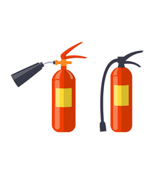 Two red extinguishers isolated on white poster vector