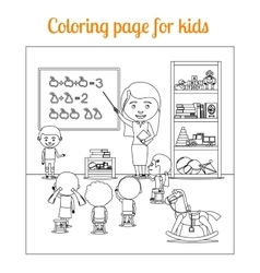 Coloring page for kids during lesson vector