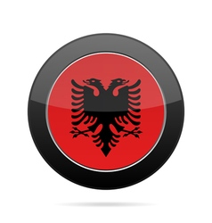 Flag of albania shiny black round button vector