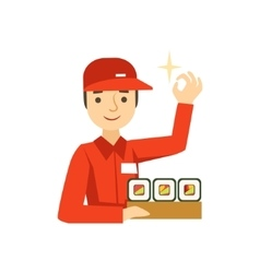 Delivery service worker in red uniform holding a vector