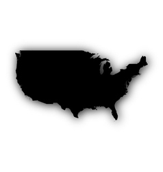 Map of the usa with shadow vector