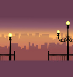 Street lamp with city background landscape vector