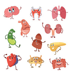 Human organs with funny emotions cartoon vector
