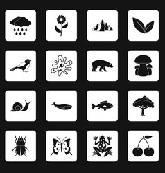 Nature items icons set squares vector