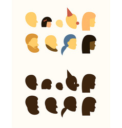 set - silhouette of head - people withe and black vector image