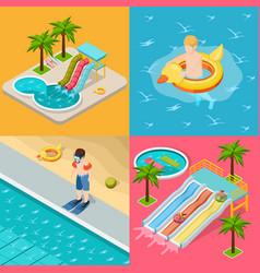 aqua park composition isometric icon set vector image