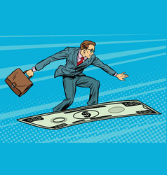 businessman on flying money carpet plane vector image