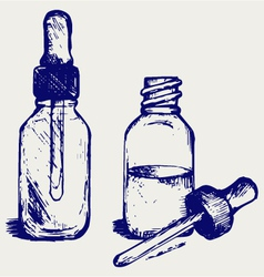 Open medicine bottle with a dropper vector