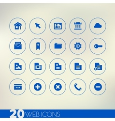 Thin simple web blue icons on light background vector