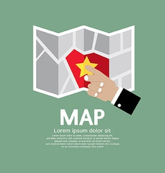 Paper map in hand vector