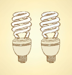 Sketch economic light bulb in vintage style vector