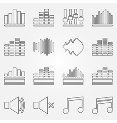 Soundwave or equalizer thin line icons set vector