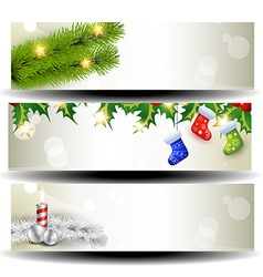 Three christmas headers vector