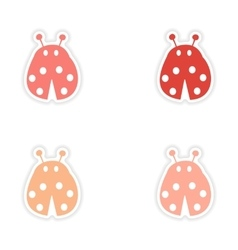 Assembly realistic sticker design on paper ladybug vector