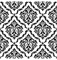 Damask black and white floral seamless pattern vector