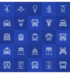 Transportation line icons vector