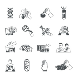 Biotechnology black icons set vector