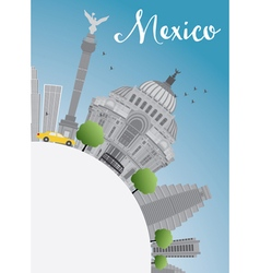 Mexico skyline with gray landmarks and blue sky vector
