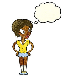 Cartoon happy woman in short skirt with thought vector