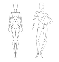 Technical woman figure static and in vector