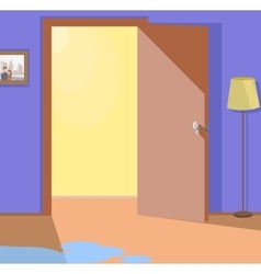 Light from open door interior design vector