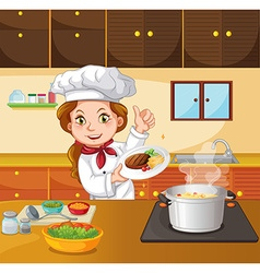 Female chef cooking in the kitchen vector image