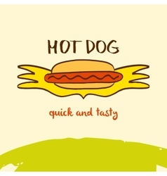 Hot dog logo hand drawn logo lettering quick vector