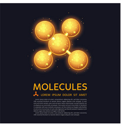 Abstract molecules design gold glow particles vector