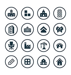 architecture icons universal set vector image