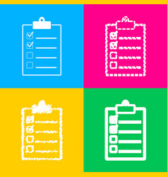 Checklist sign four styles of icon vector