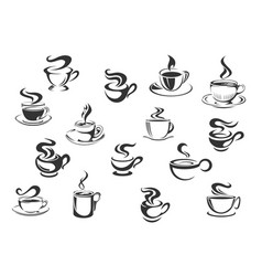 Coffee cups icons set vector