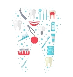 Dental icon set in tooth form flat style vector image