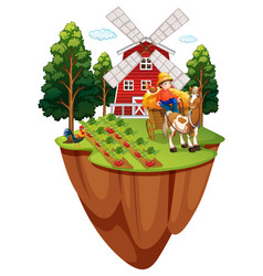 Farmer on horse in the farm vector