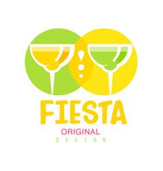 Fiesta original logo design green and yellow vector
