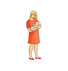 Flat girl standing with infant baby vector