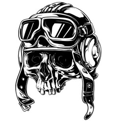 graphic detailed old skull in retro pilot helmet vector image vector image