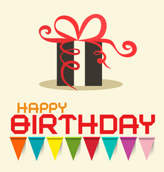 Happy birthday card with gift box design vector