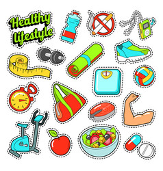 Healthy lifestyle set with food and sports vector