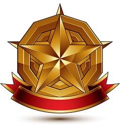 Heraldic golden symbol with stylized pentagonal vector
