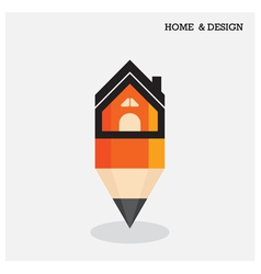 Home icon and pencil symbol in flat design style vector