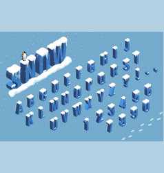 isometric winter font alphabet with snow flat vector image