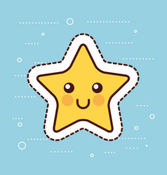 kawaii cute star yellow happy cartoon christmas vector image